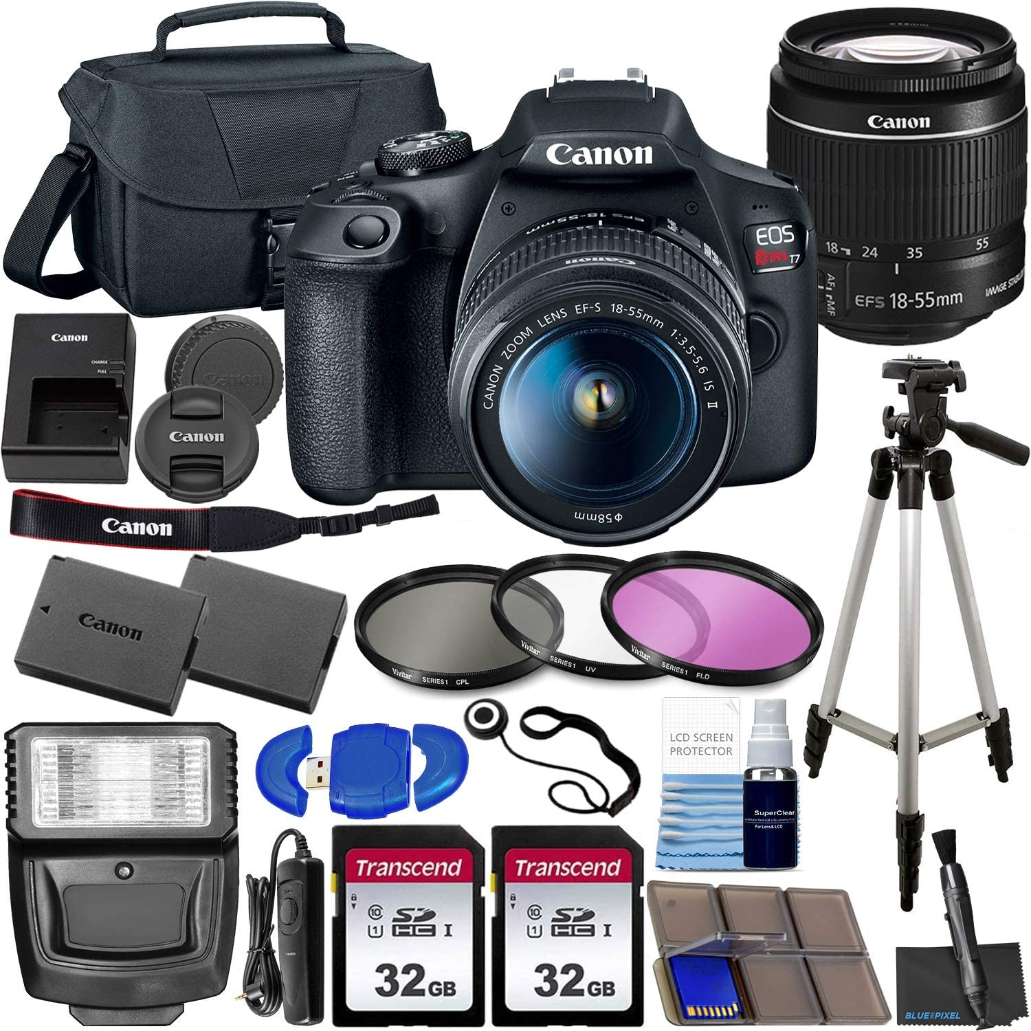 Canon EOS Rebel T7 DSLR Camera Bundle with Canon EF-S 18-55mm f/3.5-5.6 is II Lens & Ultimate Accessory Bundle – Includes: 2X 32GB SDHC Memory Card, Extended Life Battery, Case, Filters & More