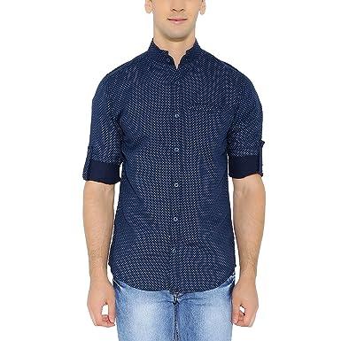 d13a7ee047 Nick & Jess Mens Navy Printed Mandarin Collar Linen Shirt: Amazon.in ...