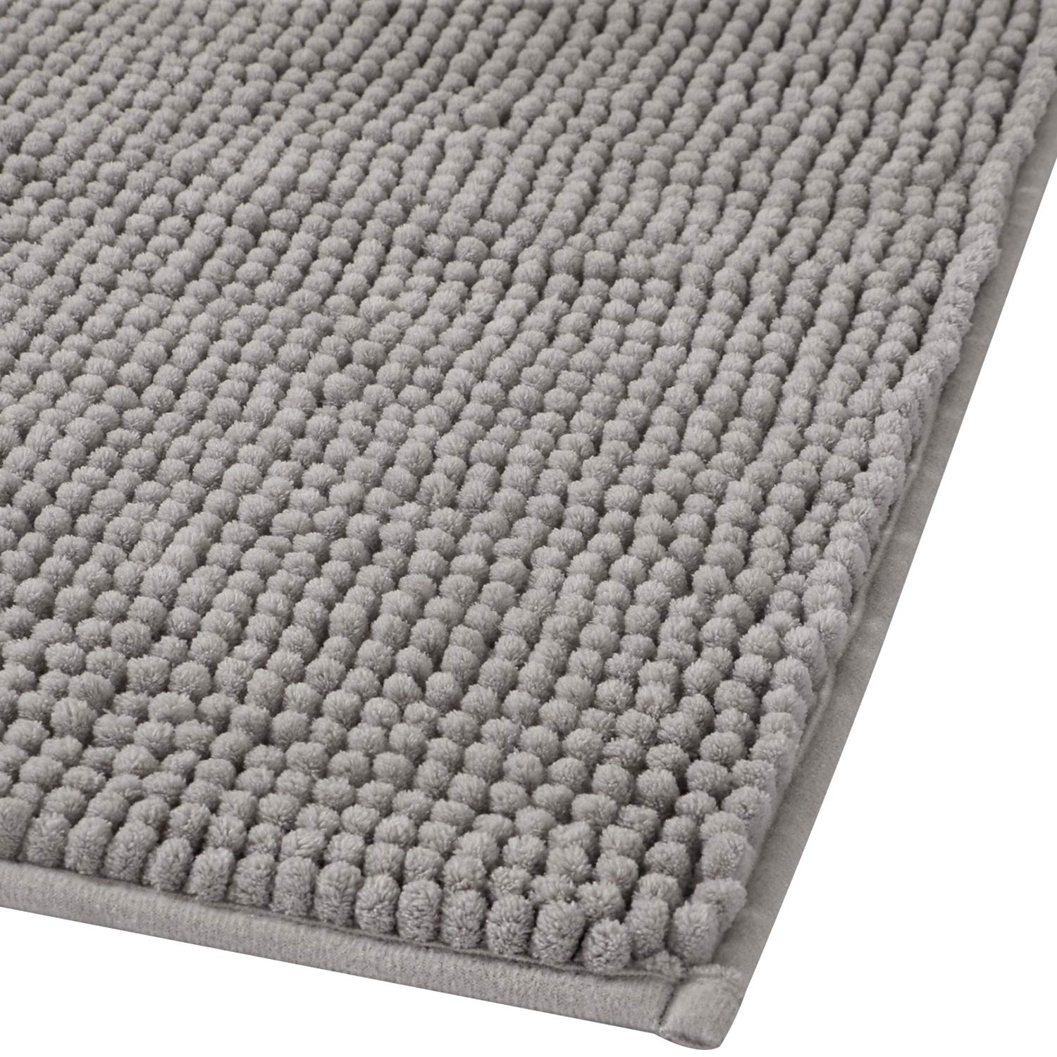 Lifewit 32''x20'' Bath Mat Non Slip Microfiber Shaggy Chenille Bath Rugs Bathroom Shower Mats Rug Gray