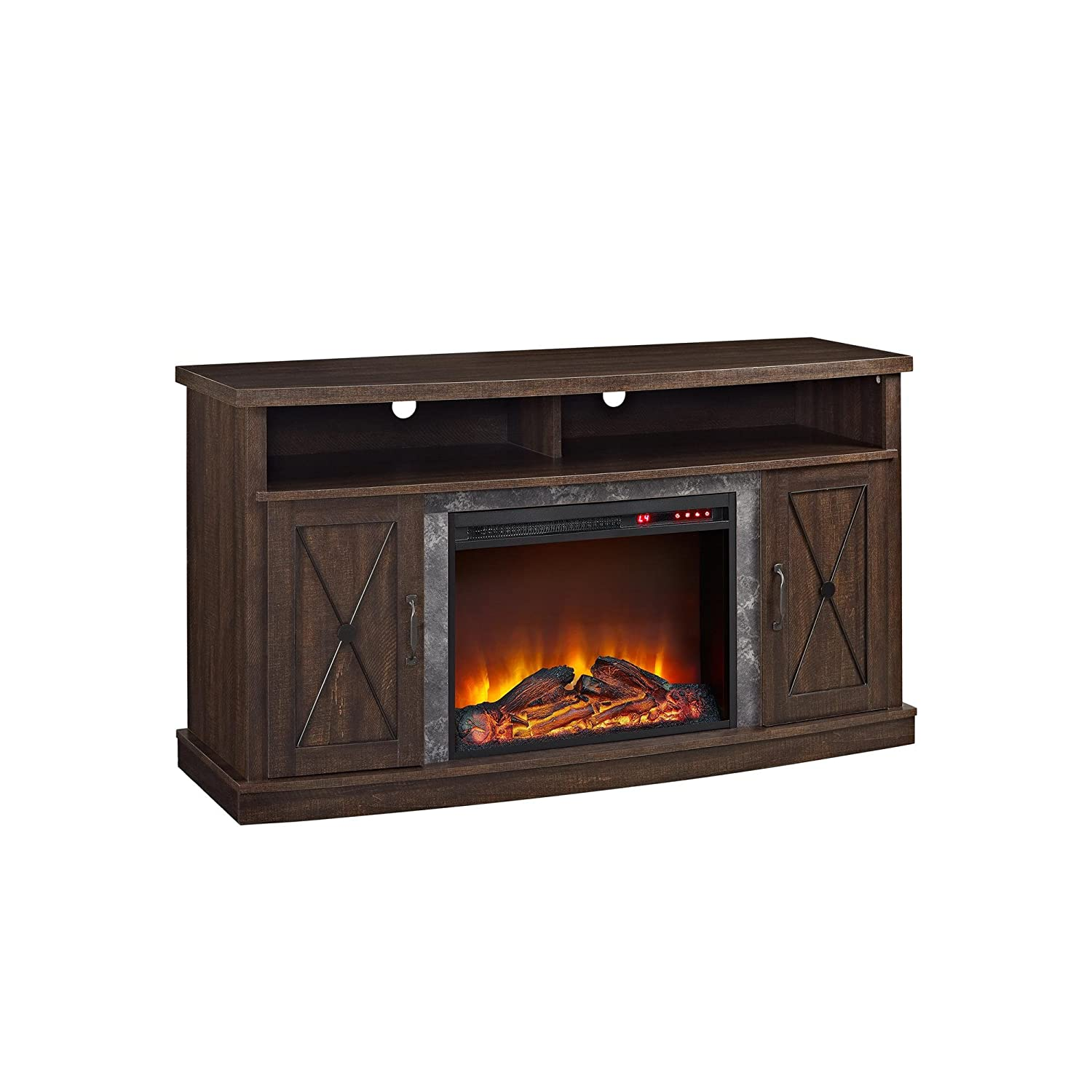 amazon com ameriwood home barrow creek electric fireplace tv