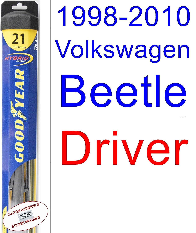 Amazon.com: 1998-2010 Volkswagen Beetle Wiper Blade (Passenger) (Goodyear Wiper Blades-Hybrid) (1999,2000,2001,2002,2003,2004,2005,2006,2007,2008,2009): ...