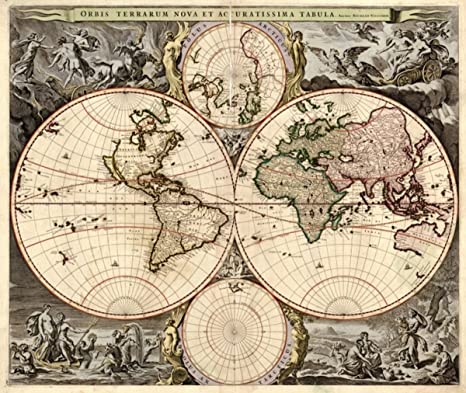 Vintage Map Of World.Amazon Com 1690 Historic Early Vintage Map Of World Orbis Terrarum