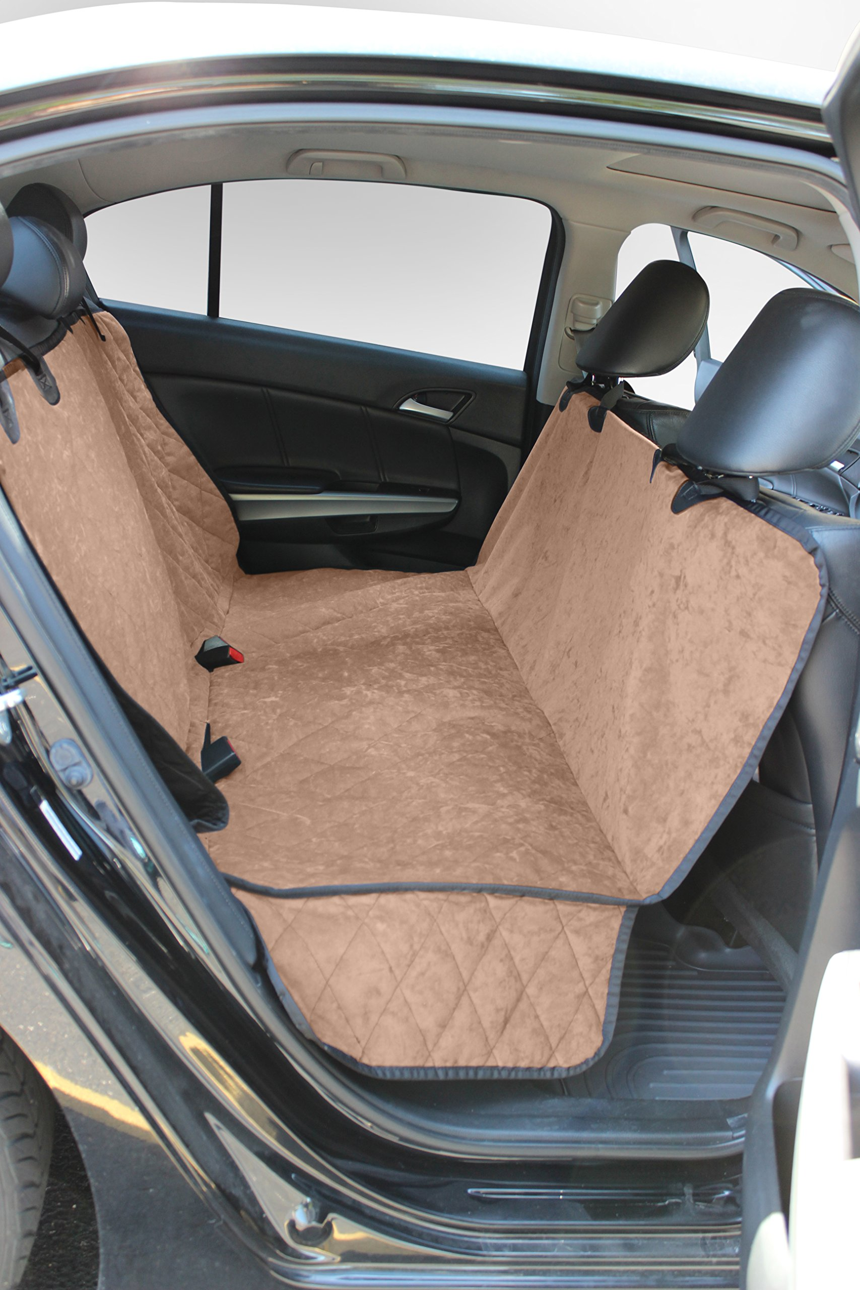 Buddyrest Smart Suede Hammock Style Seat Protector, Iced Mocha Color, Crypton Suede Performance Fabric, Stays Clean, Repels Odors and Rarely Needs Washing, Made in the USA, Infused With Kevlar Thread