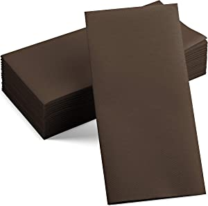 100 Linen-Feel Colored Paper Napkins - Decorative Cloth-Like Brown Dinner Napkins - Soft And Absorbent. For Kitchen, Party, Wedding, Bathroom Or Any Occasion. (Pack of 100)