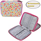 Teamoy Crochet Hook Case, Organizer Zipper Bag with Web Pockets for Various Crochet Needles and Knitting Accessories, Well Made, Small Volume and Easy to Carry, Flowers Pink(No Accessories Included)