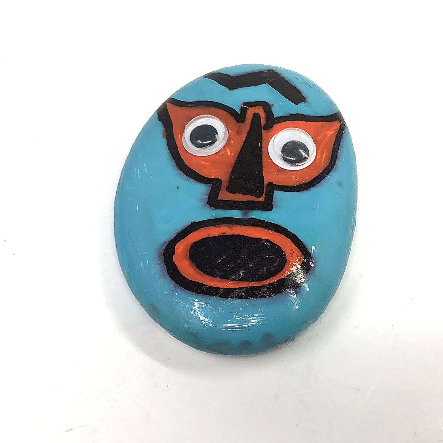Luchador rock pal hand painted Autistic kid art 4 inches