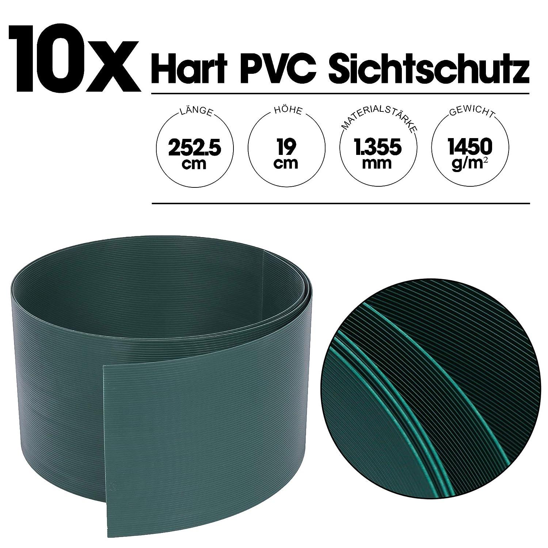 10er Set Zaunblende Hart-PVC Sichtschutzstreifen DoppelstabmattenZaun Streifen