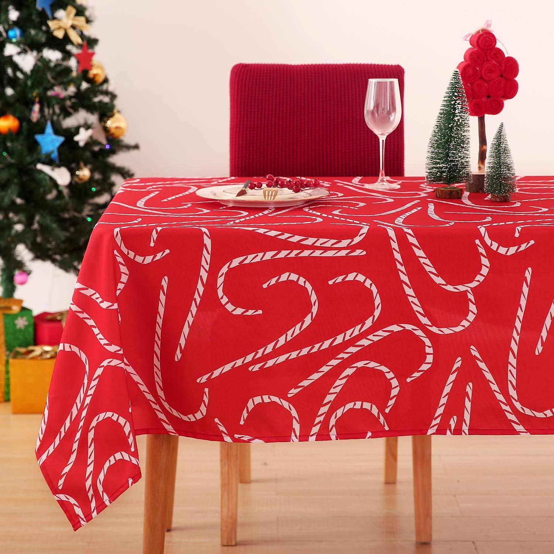 Deconovo Mantel Mesa Rectangular Mantel de Navidad Decoración Dibujo Bastón 140 x 300 cm Rojo: Amazon.es: Juguetes y juegos