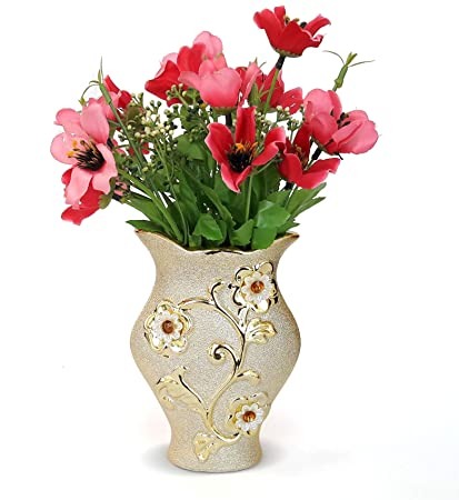 Buy Tied Ribbons Golden Flower Vase With Flowers102 Inch X 45