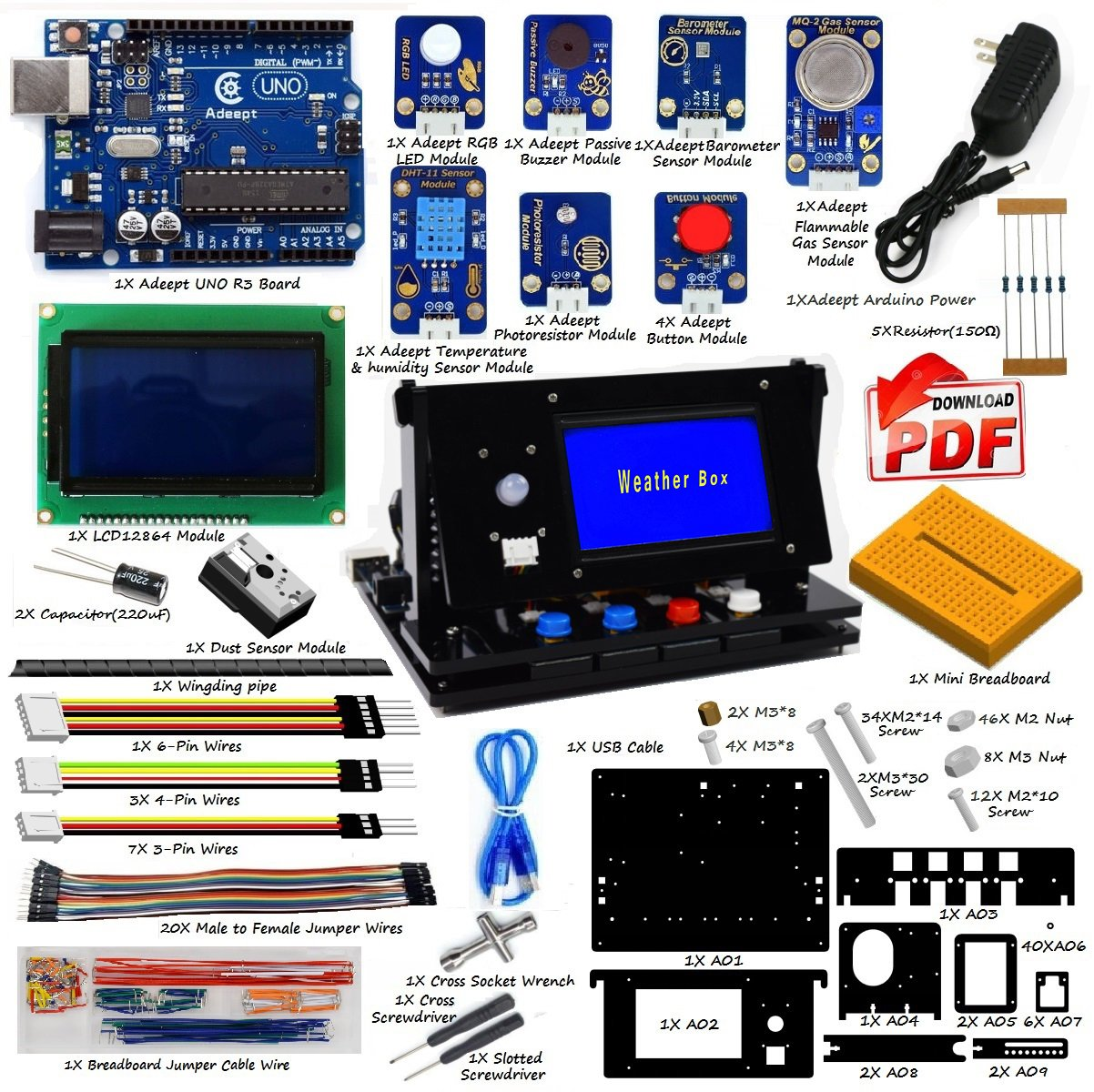 Adeept Indoor Environment Monitoring Kit | Weather Box Kit | Starter Kit for Arduino UNO R3 with Guidebook(PDF) and Code | UNO R3 Project Complete Starter Kit with Tutorial ADA018