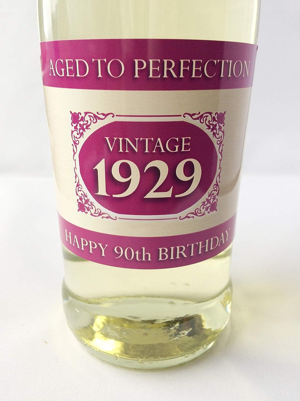 Purpleproducts 1929/Vintage Rosa Happy 90th Birthday 2019/Champagne Bottiglia Etichetta Regalo per Donne e Uomini