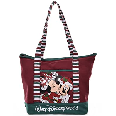 disney santa mickey minnie mouse christmas holiday tote bag in red canvas