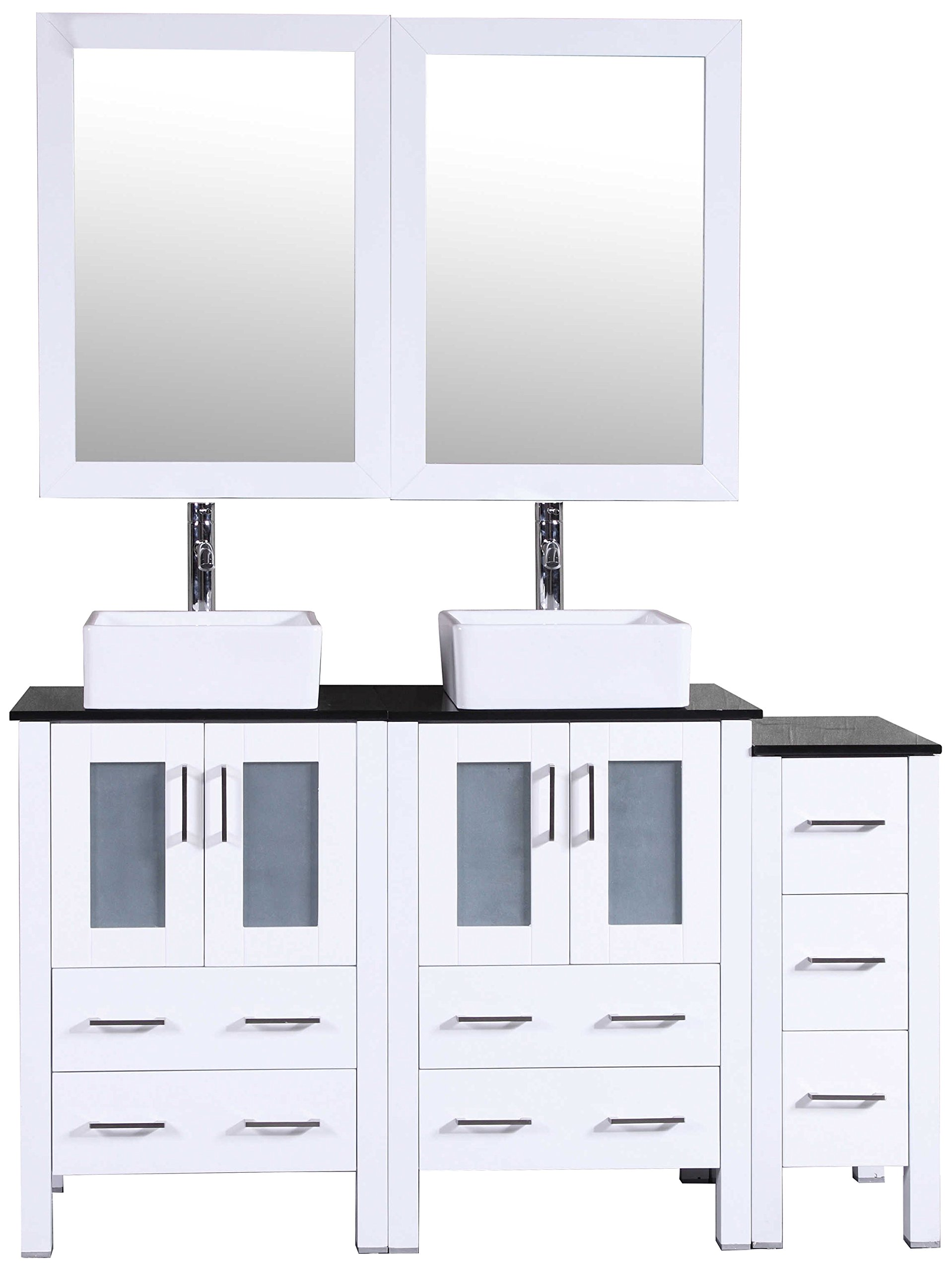 Bosconi Bathroom Vanities 60'' Double Vanity Set With Square Vessel Sinks, Countertops, 2 Cabinets, 2 Mirrors, And 1 Side Cabinet, White/Tempered Black Glass