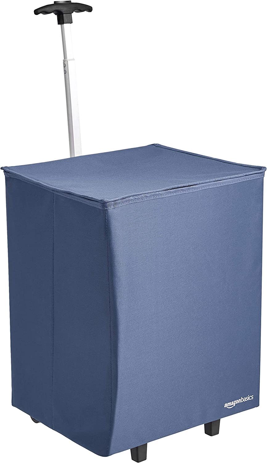 AmazonBasics Collapsible Lightweight Shopping Cart, 40 inch Handle Height, Blue