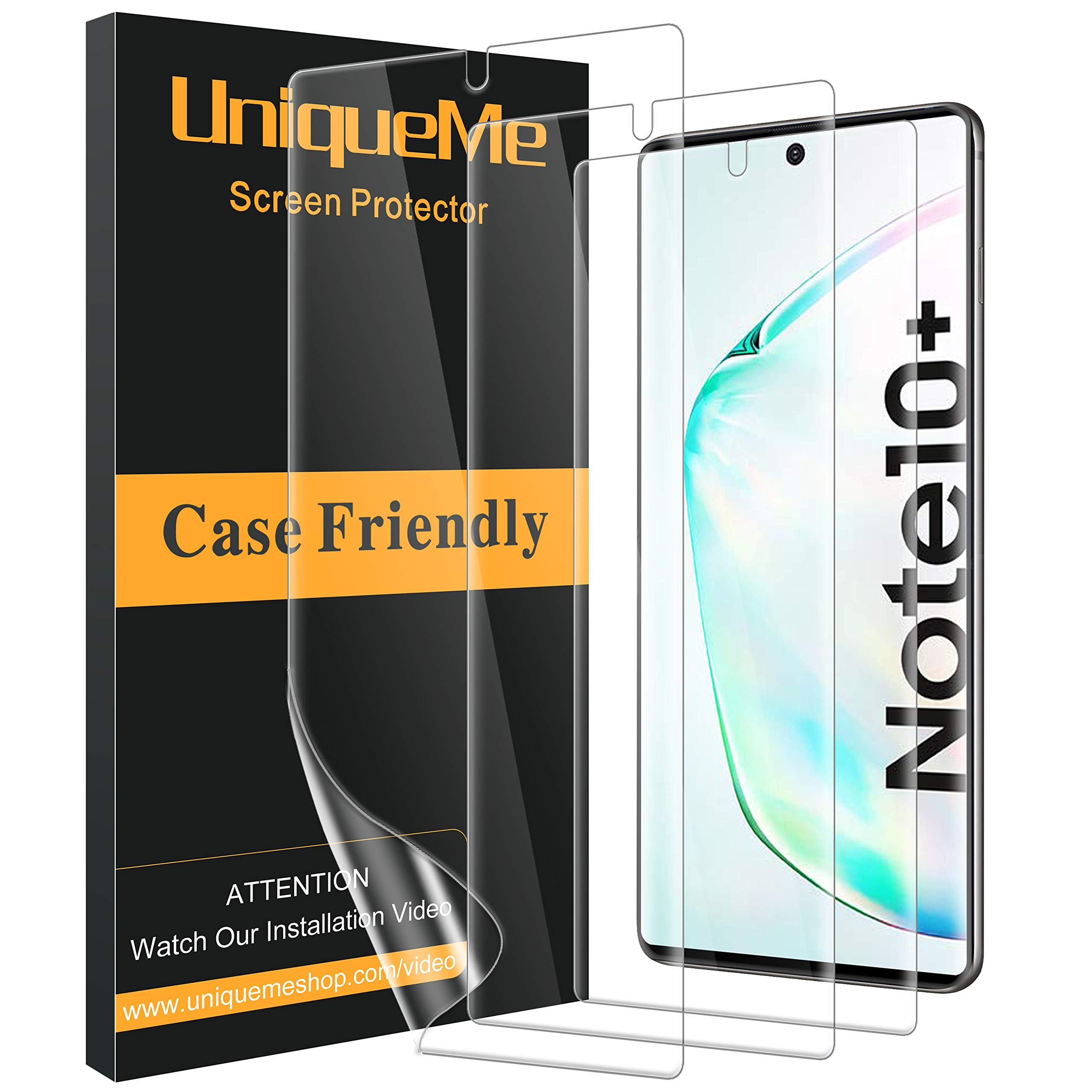 [3 Pack] UniqueMe Screen Protector Compatible with Samsung Galaxy Note 10 Plus/Samsung Galaxy Note 10+ / Note 10 Plus 5G,[Fingerprint Available] TPU Film with Lifetime Replacement Warranty by UniqueMe