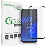 Galaxy S8 Glass Screen Protector, amFilm Full Screen [Case Friendly] Dot Matrix 3D Curved Tempered Glass Screen Protector for Samsung Galaxy S8 (Black) [Bubble Free Guarantee]