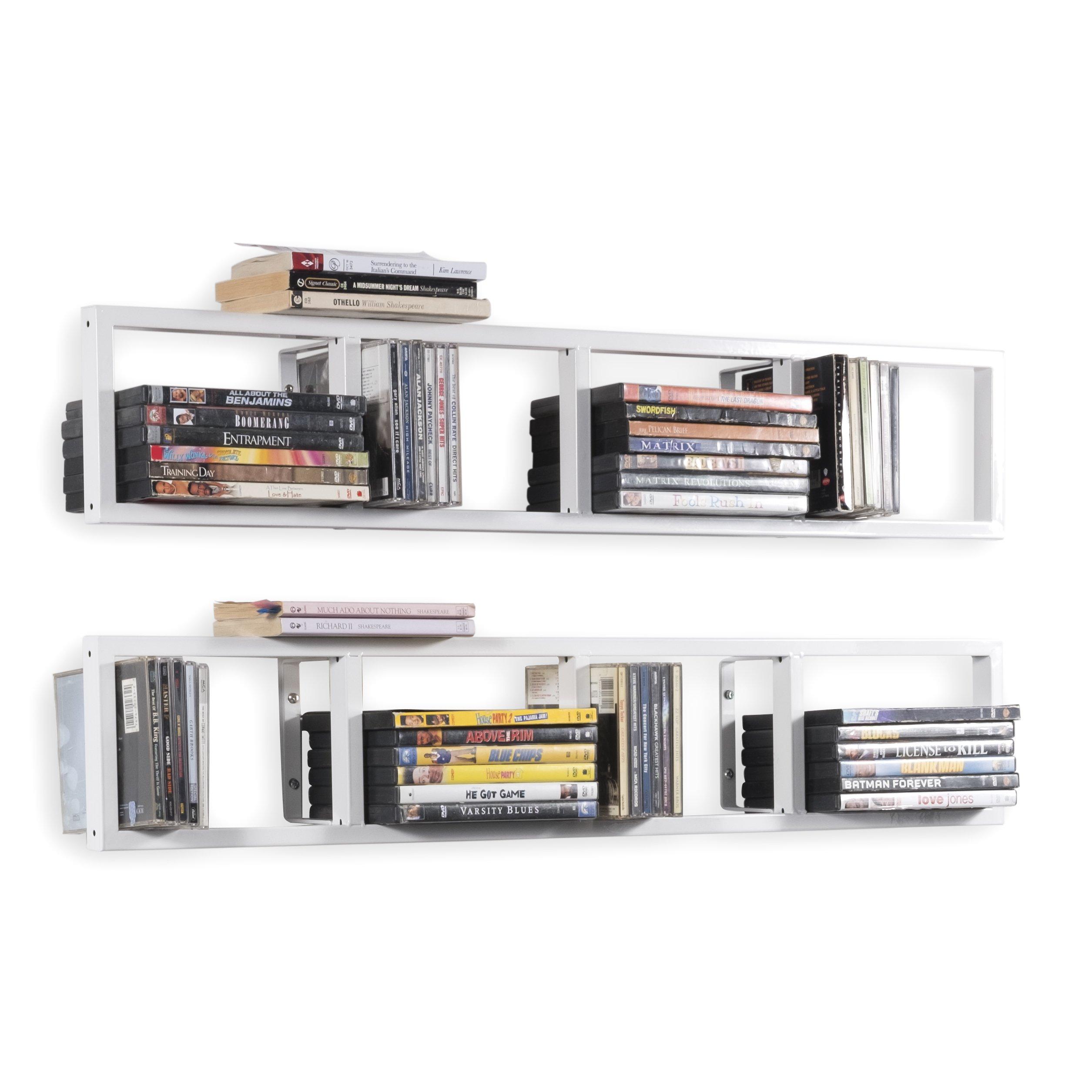 Wall Mount 34 Inch Media Storage Rack CD DVD Organizer Metal Floating Shelf Set of 2 White by BHG