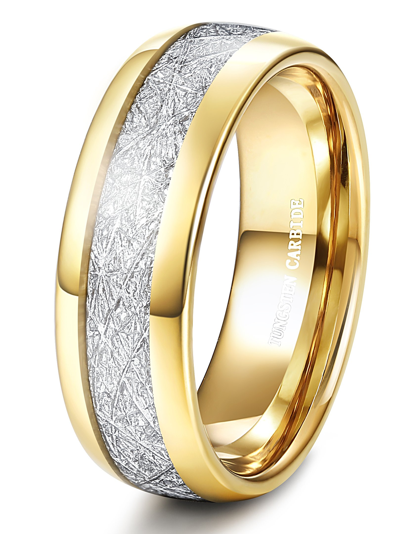 Tungary 8MM Gold Plated Tungsten Wedding Band Ring for Men Domed Imitated Meteorite Ring Size 10