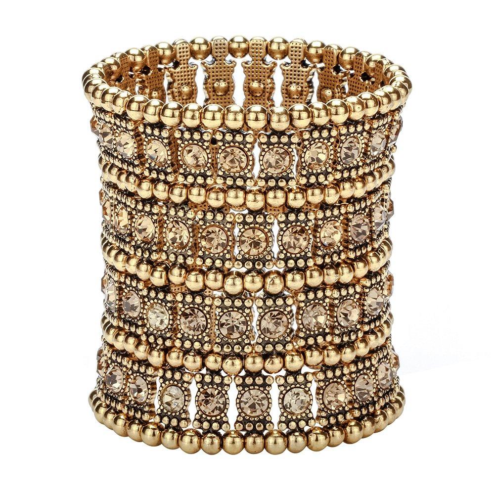 Hiddleston Multilayer 4 Row Jewelry Gothic Stretch Bracelet Sleeve Arm Cuff Rocker Wristband Heavy Metal Bobo Halloween Costume Women Accessory