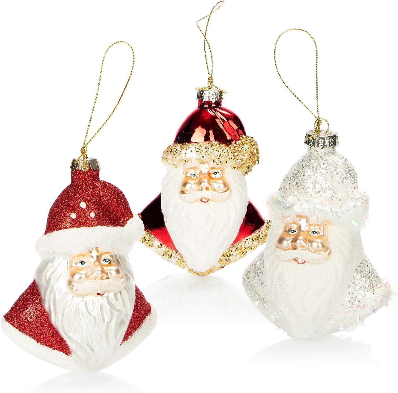 com-four® 3X Decoraciones árbol de Navidad - Papá Noel de Vidrio Real para la decoración de Navidad - Colgantes de árbol de Navidad (Santa - 3 Piezas)