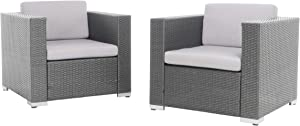 Christopher Knight Home Murano Outdoor Wicker Club Chair with Water Resistant Cushions, 2-Pcs Set, Grey / Silver