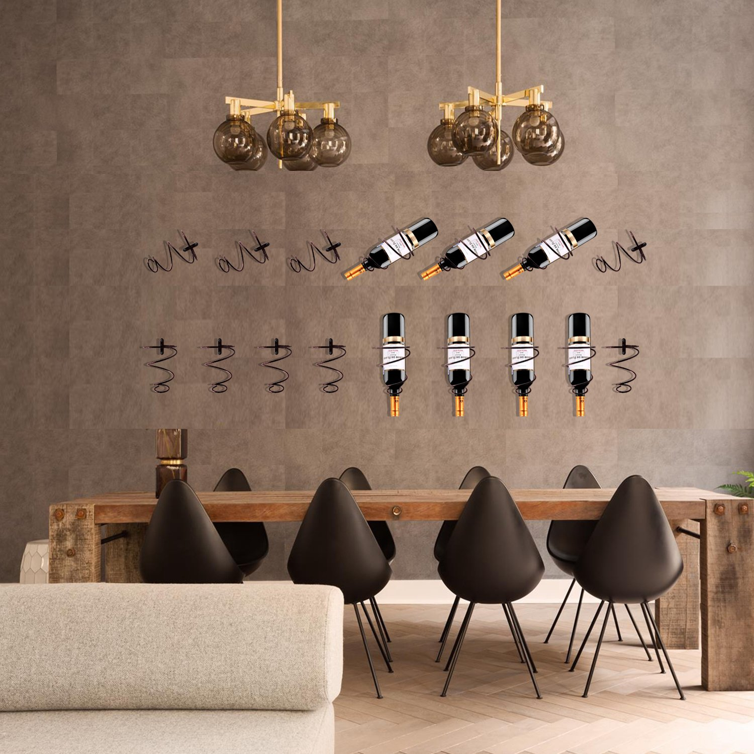 Hin Plus 3 Pack Metal Wine Rack Wall Mounted Wine Bottle Holder – Wall Decor Art – Included Mounting Screws and Anchors (Style B) by Hin Plus (Image #7)