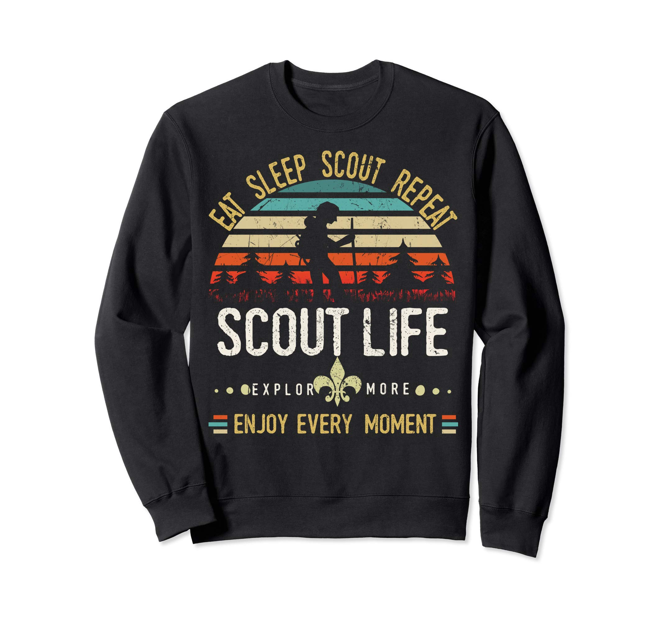 Eat Sleep Scout Repeat | Vintage Scouting Scout life Sweatshirt by Cub Camping Hiking Scouting Gifts