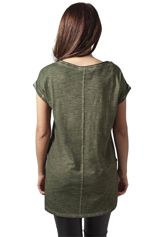 Urban Classic Ladies Long Back Shaped Spray Dye tee, Camiseta para Mujer: Amazon.es: Ropa y accesorios