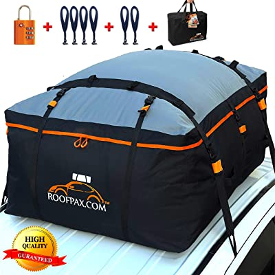 RoofPax Car Roof Bag & Rooftop Cargo Carrier. 19 Cubic Feet. 100% Waterproof Excellent Military Quality Car Top Carrier. Heavy Duty RoofBag. Fits All Vehicle With/Without Rack. 4+2 Door Hooks Included: Automotive