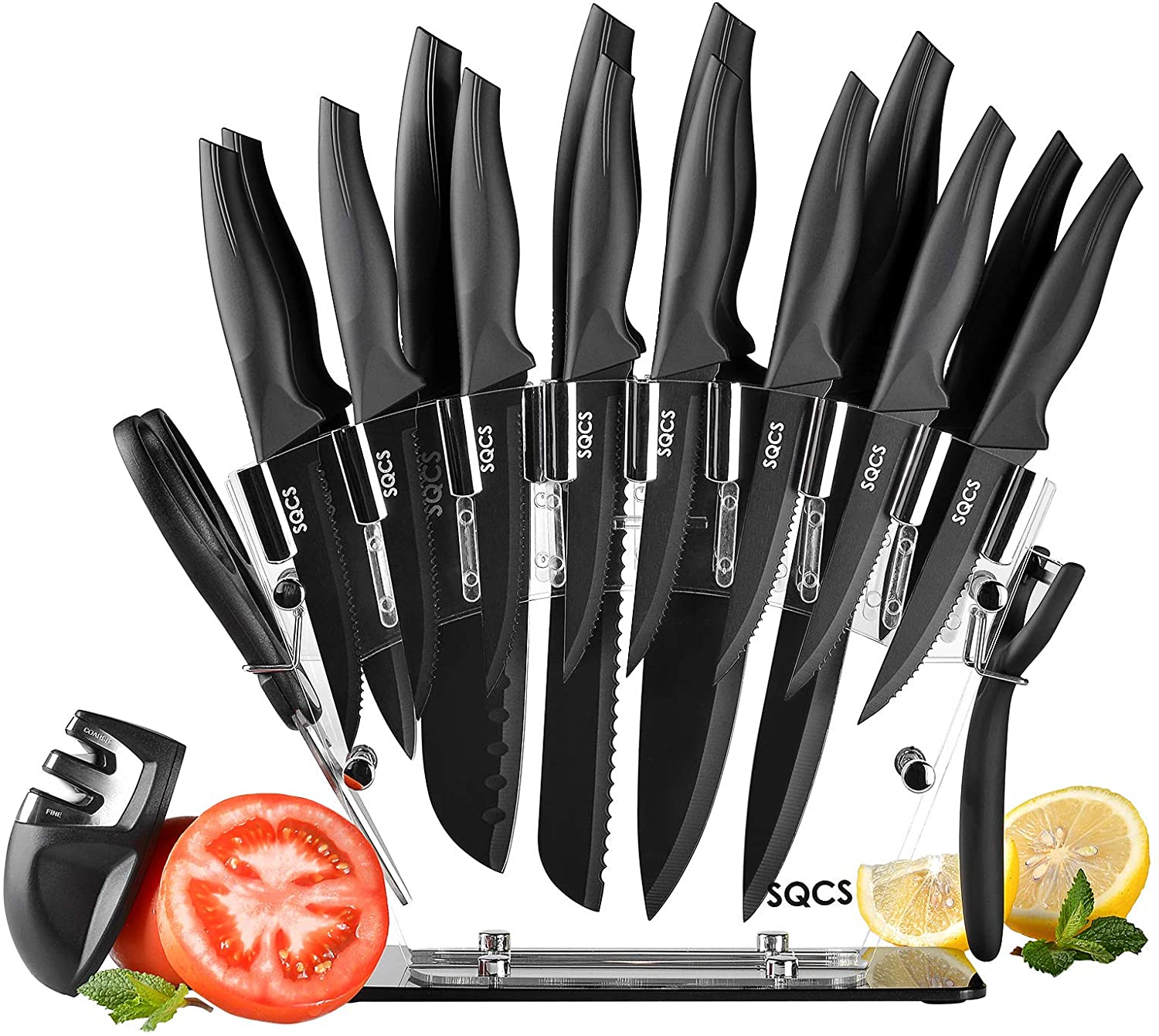 Knives Set, 18 Pieces Stainless Steel Kitchen Knife Block Set with Clear Block,Sharp Cutlery Knife Set with Sharpener,Acrylic Stand,Scissors,Peeler,8 Serrated Steak Knives,Coated Knife Blade, Black