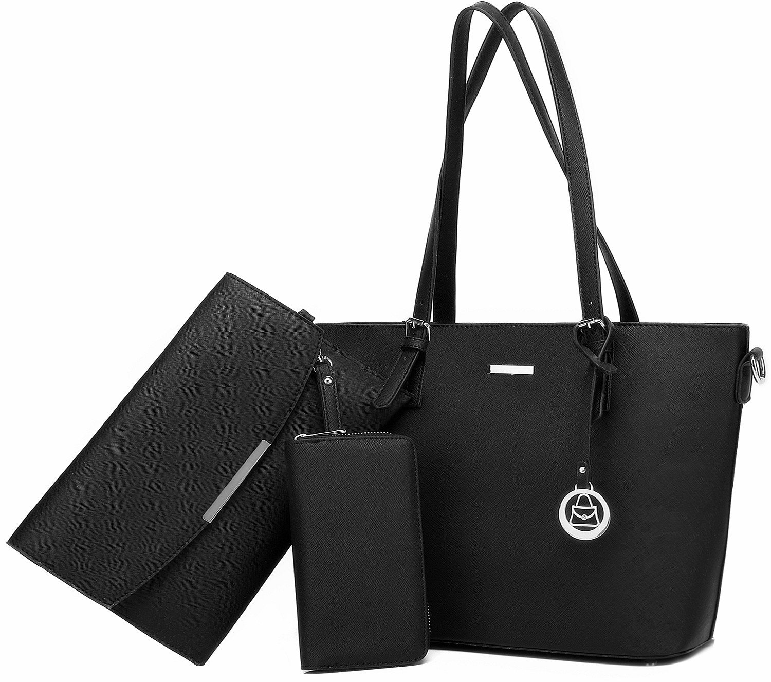 Women Shoulder Handbag + Envelopes+Wallet 3 Piece Set Bag for Work and Travel (Black)