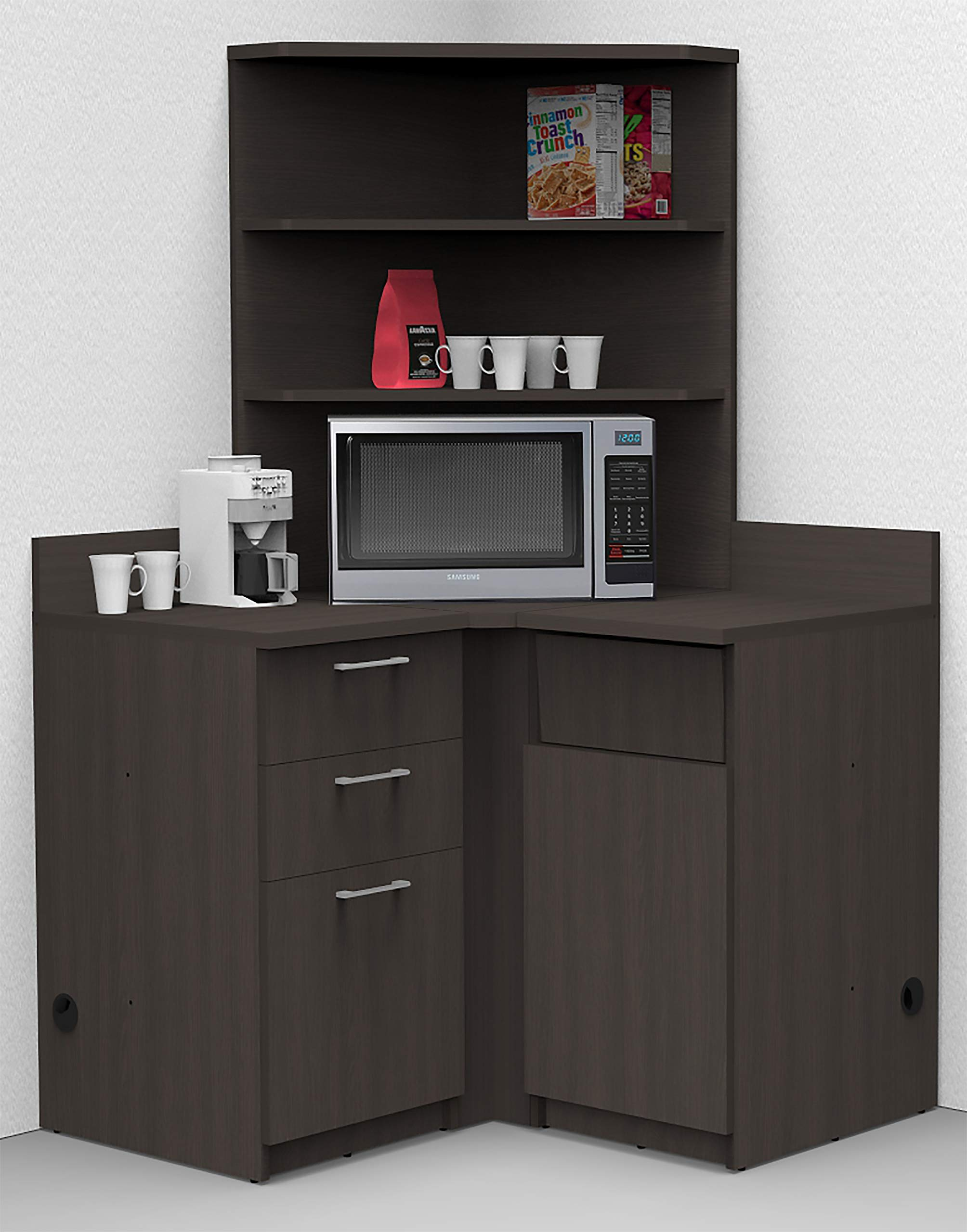 Coffee Kitchen Lunch Break Room Corner Space Saver Model 5989 BREAKTIME 4 Piece Color Espresso - Fully Factory Assembled. Purchase is Furniture Items ONLY by Breaktime