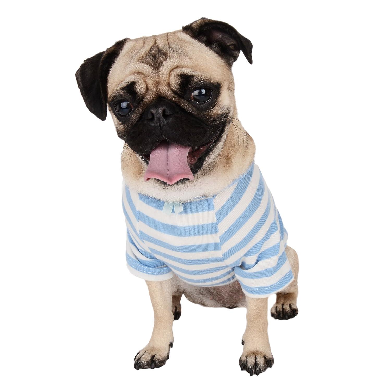 bluee White X-Small bluee White X-Small CueCue Pet Cozy Striped Pet Shirt, X-Small, bluee White