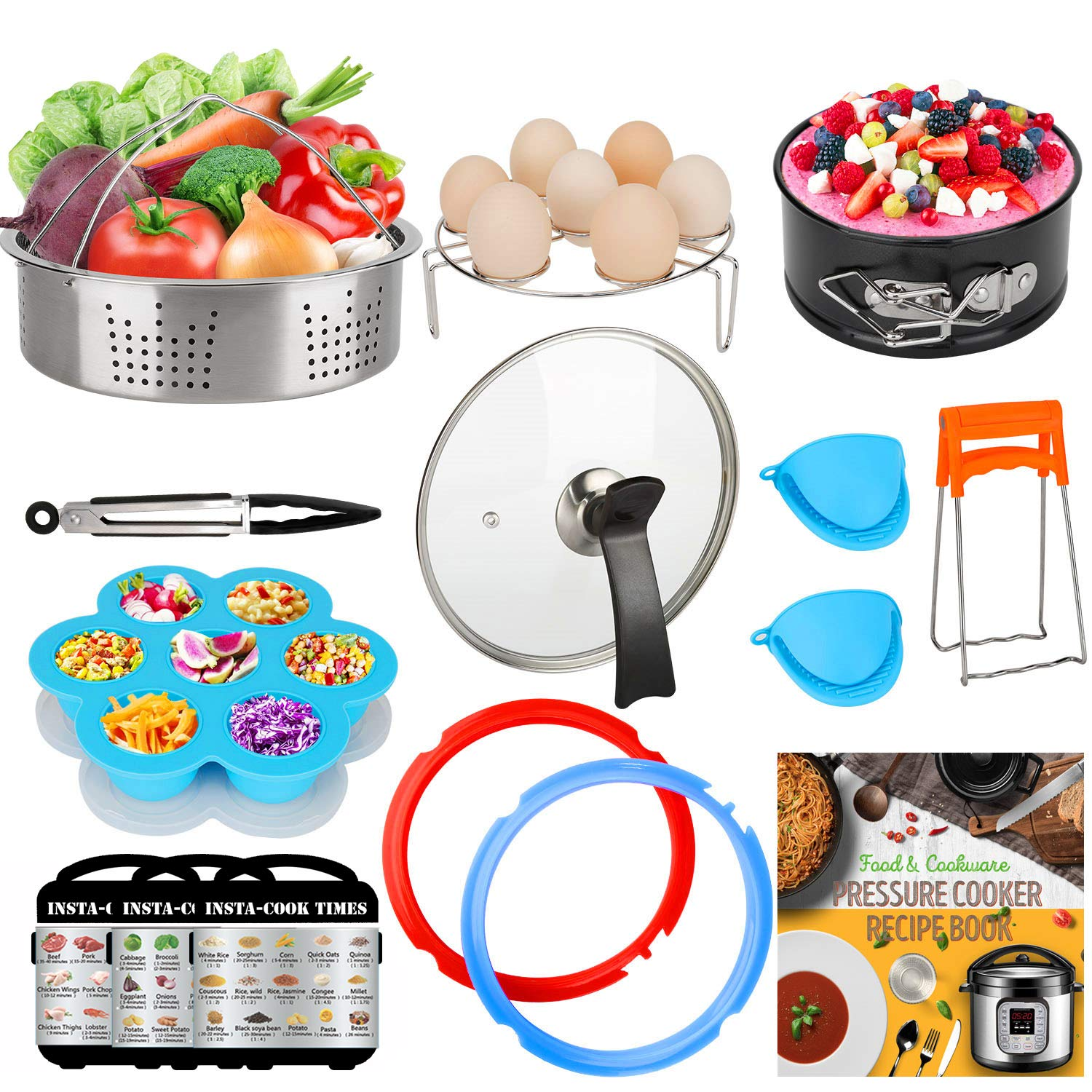 3-Quart-Accessories-Set with Tempered Glass Lid Sealing Rings Compatible with Instant Pot Mini 3, Including Steamer Basket Springform Pan Egg Rack Trivet Works with 3 Qt Instapot, Cookbook, Cover by Nice Kitchen