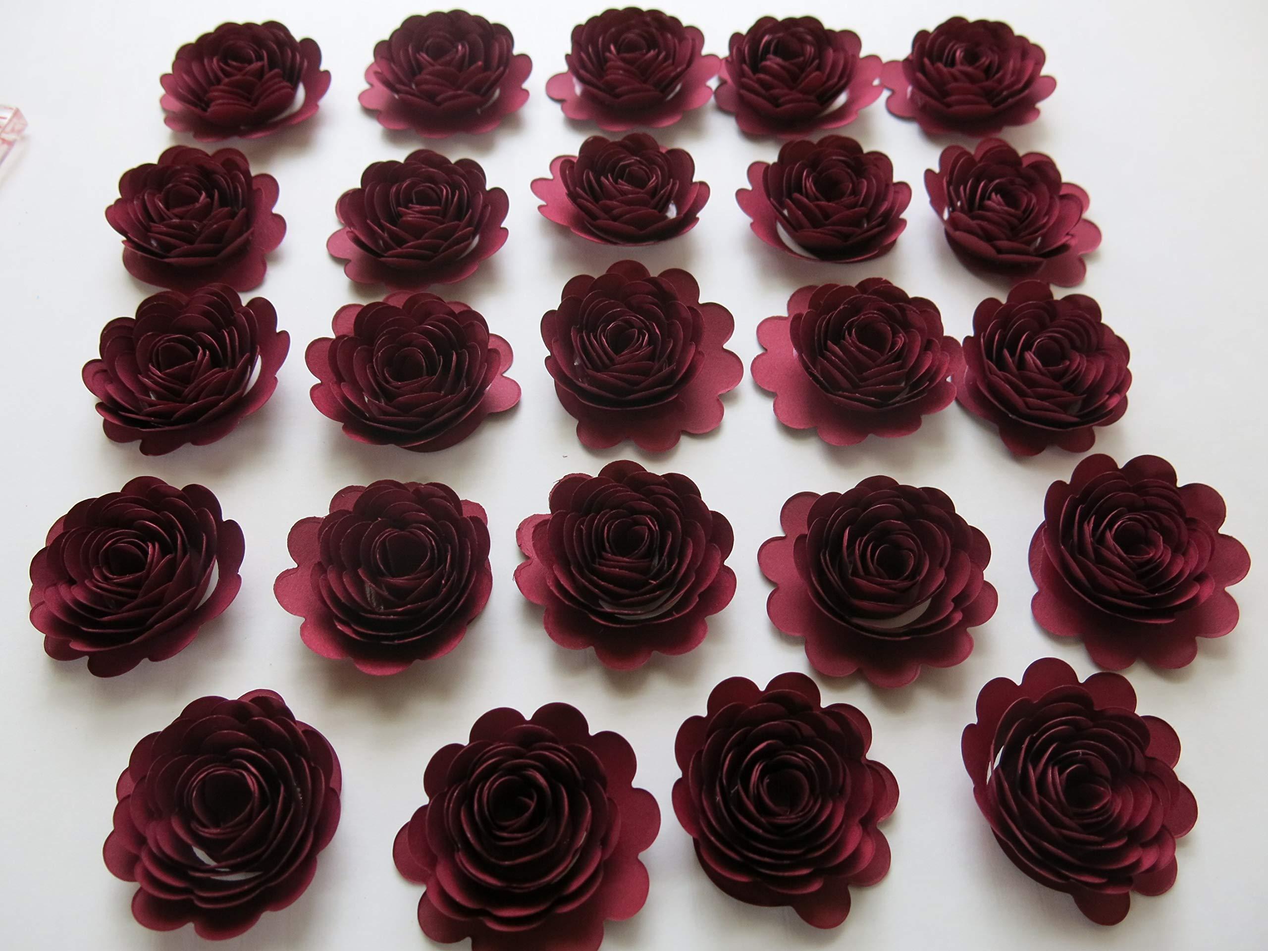 24-Dark-Red-Carnations-15-Scalloped-Burgundy-Rose-Paper-Flowers-Garnet-Flowers