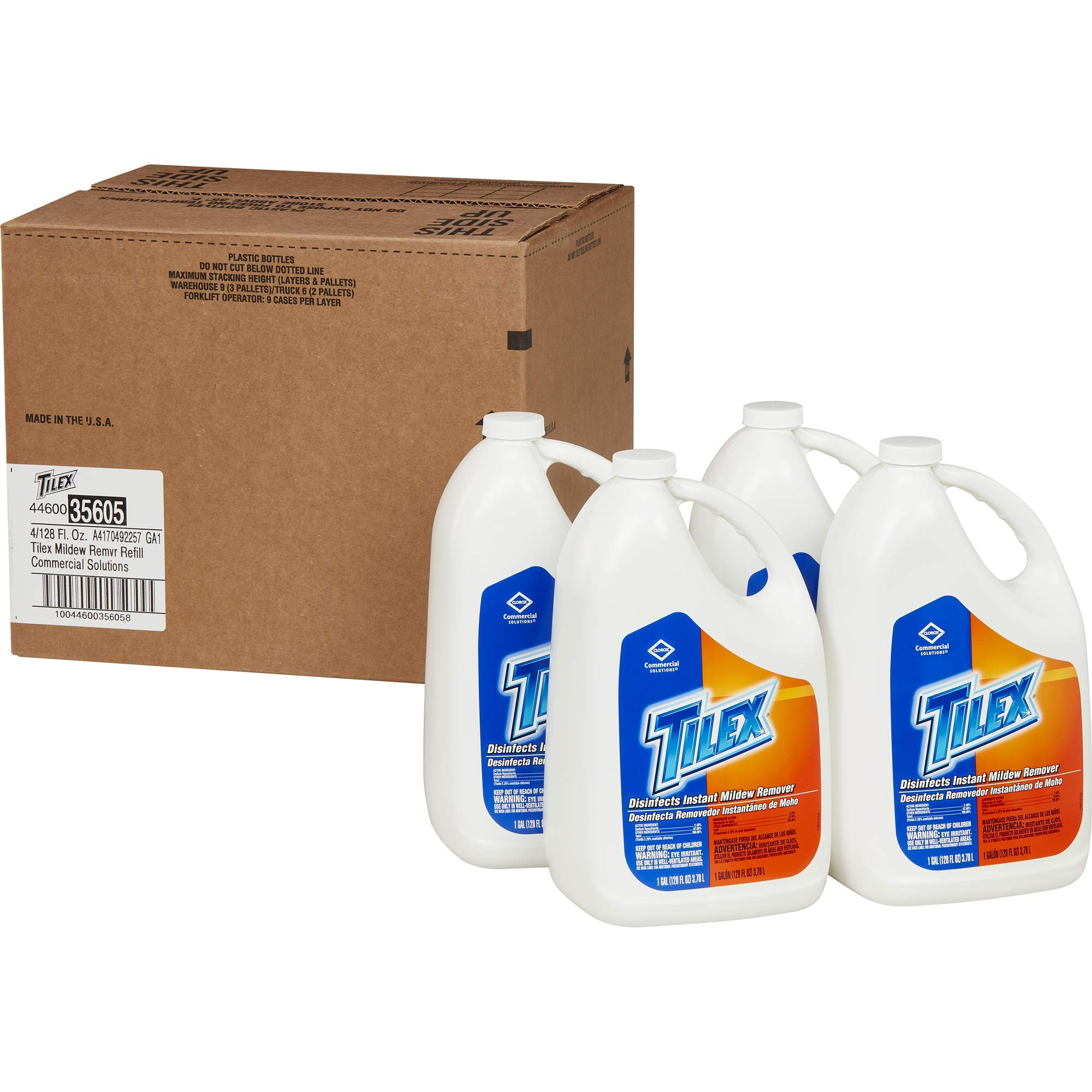 Tilex Disinfects Instant Mildew Remover, Refill, 128 Ounces, 4 Bottles/Case (35605) by Tilex