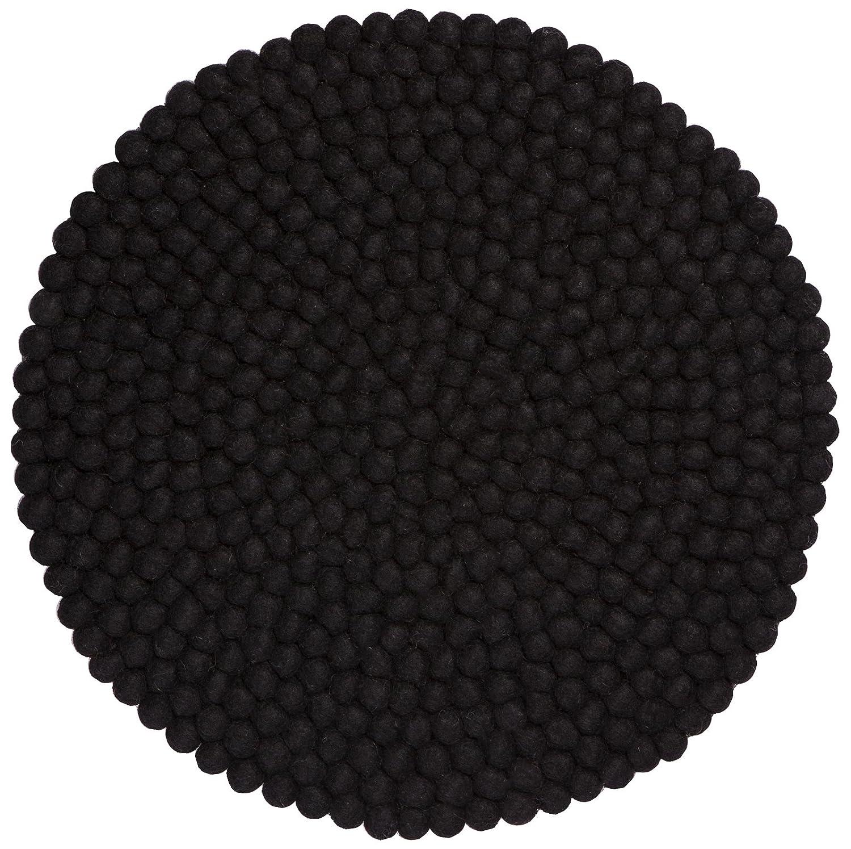 Myfelt Nero Filzkugel-Sitzauflage Stuhlauflage, rund, Schurwolle, schwarz, Ø 36 cm
