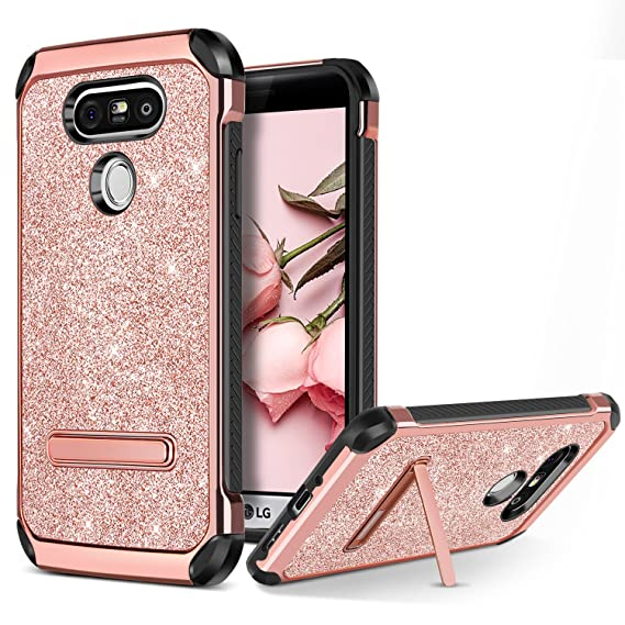 BENTOBEN Case for LG G5, Phone Case for LG G5 Cover, Glitter Bling Luxury  Dual Layer Hybrid Hard PC Laminated Chrome Shockproof Protective Case for  LG