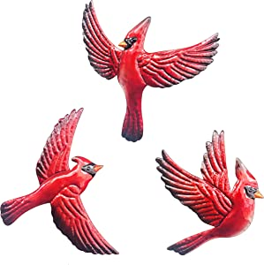 J-Fly Red Bird Cardinal Wall Art Decor, Large Highlight Antique 3 pack Metal Decoration, Wall Sculpture for Living Room Bedroom Kitchen Bathroom Farmhouse, Ornaments Unique Gifts for Mom