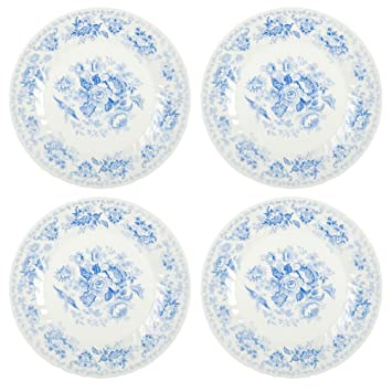 Queenu0027s Oriental Garden Blue Floral Ceramic Dinner Plates Made in England 10-Inch  sc 1 st  Amazon.com & Amazon.com | Queenu0027s Oriental Garden Blue Floral Ceramic Dinner ...
