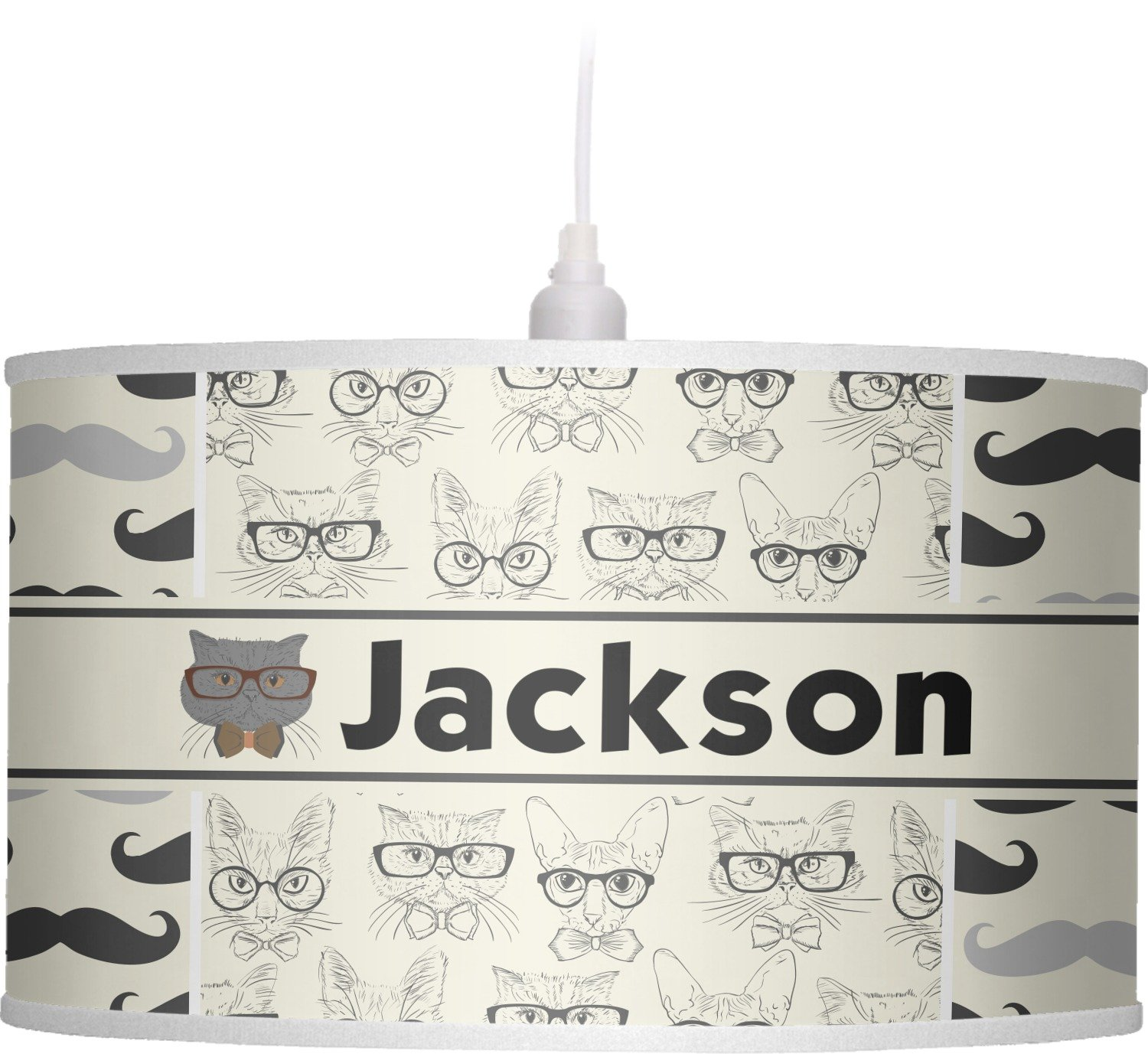 RNK Shops Hipster Cats & Mustache Drum Pendant Lamp Linen (Personalized) by RNK Shops (Image #1)