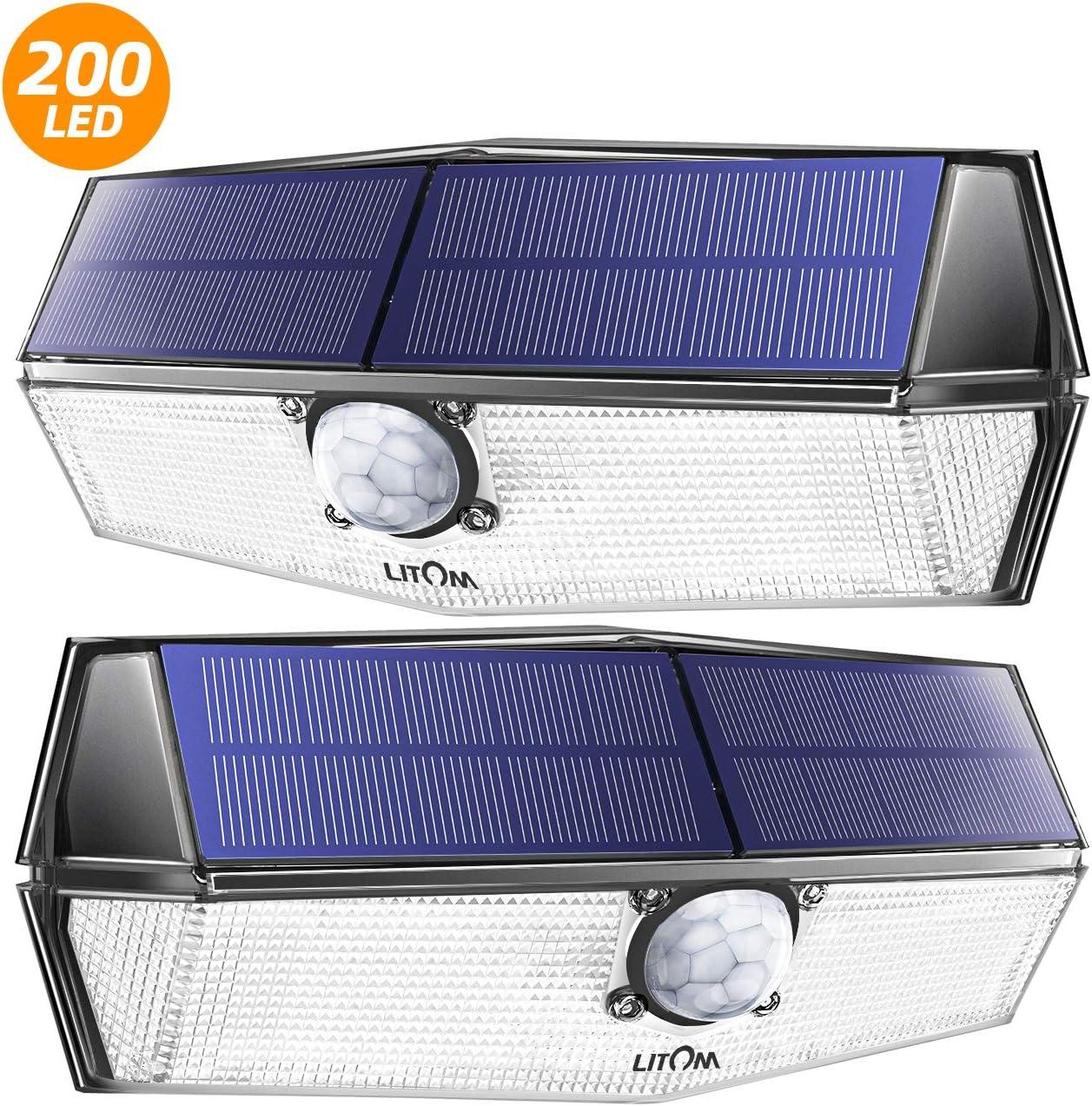 LITOM Luz Solar de Exterior 200 LEDs, Impermeable IP67, Lampara Solar de 3-8M Detección, 270° Ángulo de Iluminación, PIR Sensor de Movimiento,Fácil de Instalar