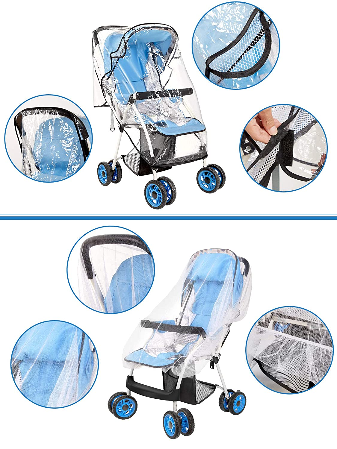 Protect Babies from Sun Snow Universal Stroller Rain Cover with Mosquito Net,Baby Mosquito Net and Mummy Bag Hook Rain Dust Wind