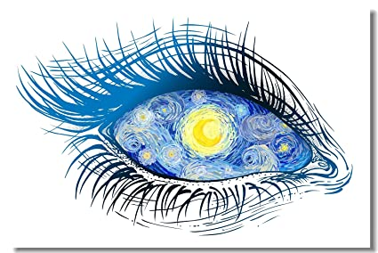 Poster Psychedelic Trippy Surreal Abstract Art The Starry Night In Girl Eye Fabric Prints Wall 30x20inch 75x50cm 003