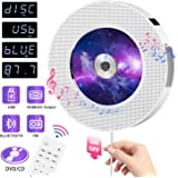 CD Player HOMEOW Wall Mountable CD DVD Player with Bluetooth Portable CD/DVD Player Home Audio Boombox Remote Control HDMI for TV Built-in Speakers FM Radio USB AV Jack for Music Home Car Casual Time