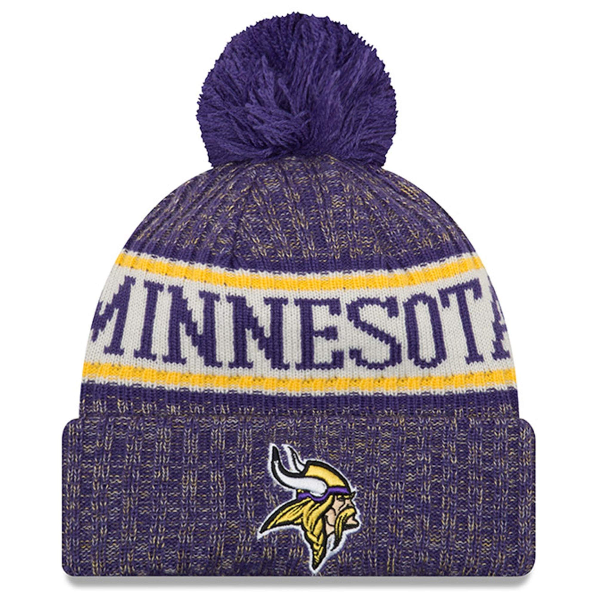 New Era Knit Minnesota Vikings Purple On Field Sideline Sport Knit Winter Stocking Beanie Pom Hat Cap 2015 by New Era