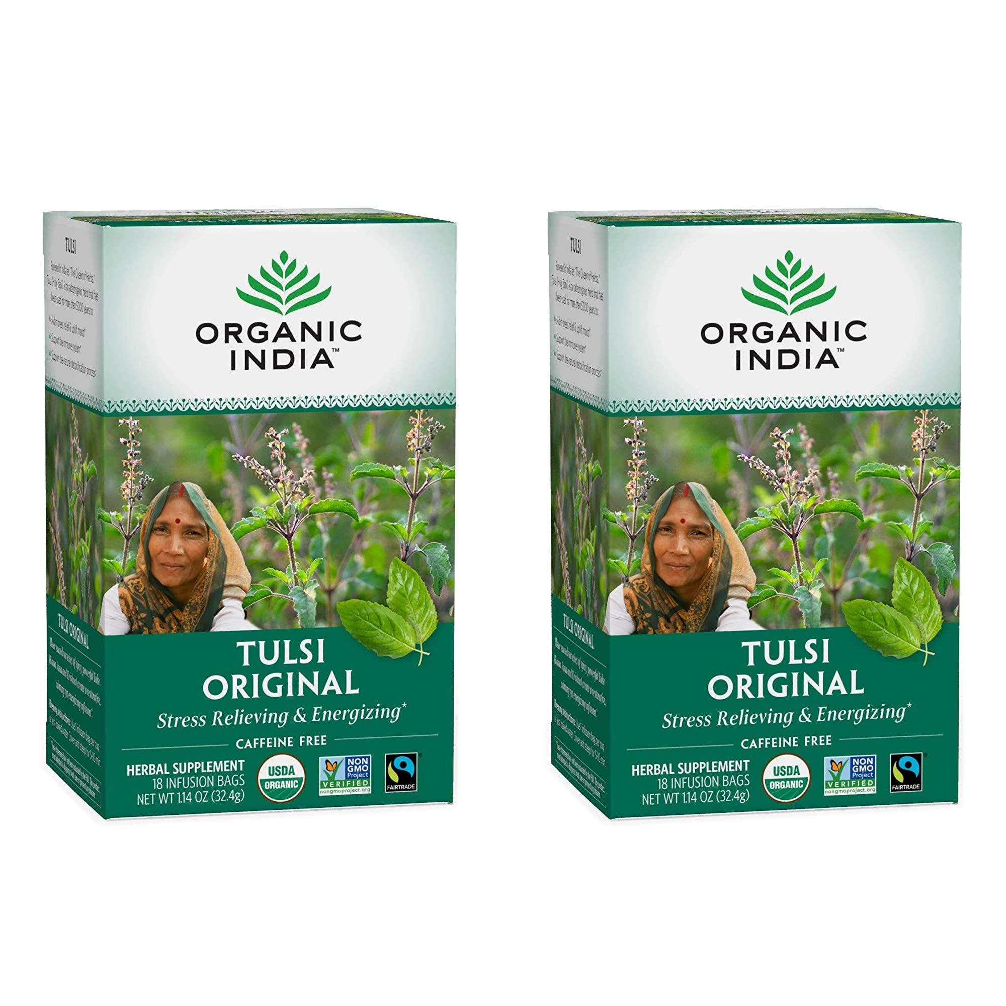 Organic India Tulsi Original Herbal Tea - Stress Relieving & Energizing, Immune Support, Adaptogen, Vegan, Gluten-Free, USDA Certified Organic, Non-GMO, Caffeine-Free - 18 Infusion Bags, 2 Pack