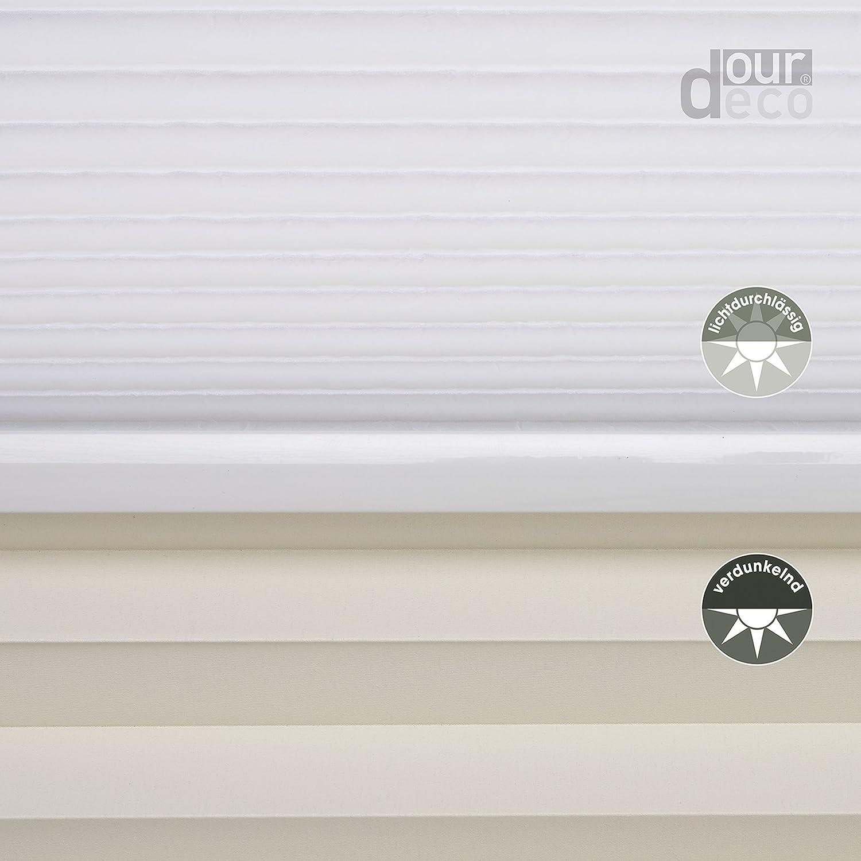 Ourdeco® Kombi Doppel-Plissee   90 x x x 130 cm weiß weiß lichtdurchlässig, Blickdicht, verdunkelnd Farben  Weiß-Weiß, Beige-Weiß Klemmen=Montage ohne Bohren=Smartfix=Klemmfix-Plissee=Easy-to-fix B06Y6BZBQS Seitenzug- &  843436