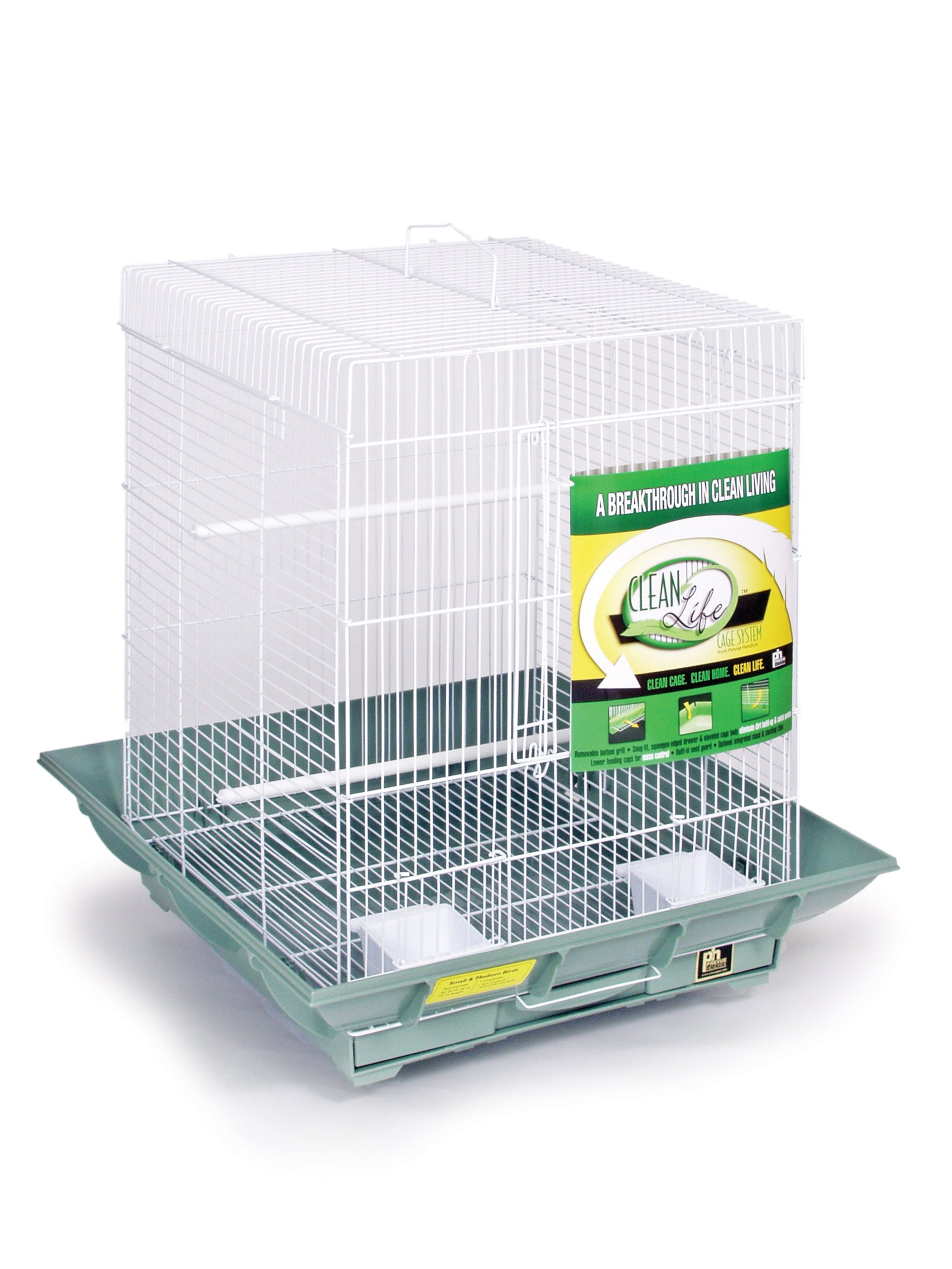 Prevue Hendryx SP850G/W Clean Life Cockatiel Cage, Green and White by Prevue Hendryx