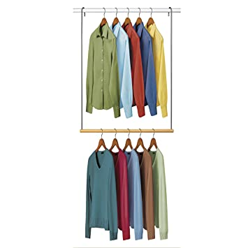 Swell Lynk Double Hang Closet Rod Organizer Clothing Hanging Bar Chrome Wood Download Free Architecture Designs Photstoregrimeyleaguecom